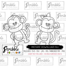 monkey hand drawn cute kids monkeys circus carnival clipart vector scrapbooking iron on shirts cut file silhouette cricut easy to use print at home