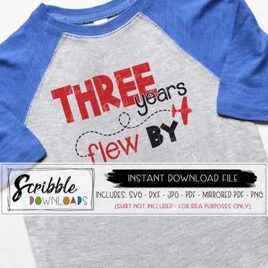 three year old airplane svg party planes svg dxf pdf png jpg cricut silhouette cut file 3rd bday shirt iron on transfer DIY digital download printable at home craft project 3 three 3rd third svg three years flew by pilot kids cut file vinyl shirt popular cute trendy sublimation artwork clipart vector