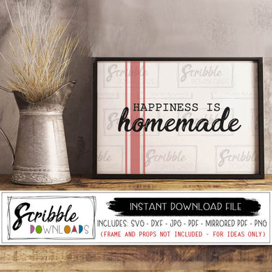 Happiness is Homemade SVG digital download printable sign SVG DXF PDF PNG JPG Cricut Silhouette cut file for vinyl sign making DIY farmhouse decor style type writer rustic farm popular cute instant digital download vector PDF easy to use safe print