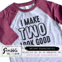 I make TWO look good svg dxf vinyl cut file 2 year old birthday shirt iron on transfer cricut silhouette heat transfer vinyl graphic file boy girl gender neutral 2nd bday easy cute popular SVG DXF PDF printable digital download
