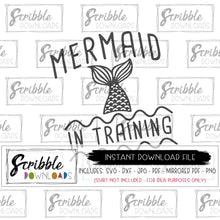 Mermaid in training Vector art Clipart Cricut Silhouette Cut file digital download print framed ocean sea mermaid cute popular girl free commercial use pink birthday shirt printable DIY craft fun girls
