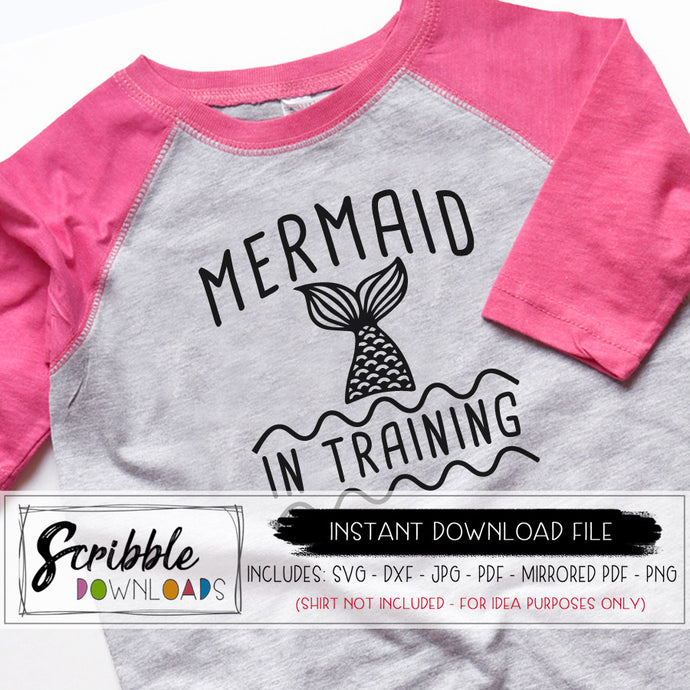 mermaid in training SVG Vinyl Cut File Cricut Design Space Silhouette Cameo SVG DXF PDF PNG JPG Digital download iron on transfer shirt DIY printable cute mermaid mermazing little girl girls water ocean swim vacation clipart free commercial use