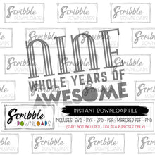 NINE 9 9th bday svg dxf pdf png jpg vector graphic clipart iron on transfer printable digital download instant DIY print at home graphic scrapbooking awesome cool fun cute popular boy girl kids 9 years old bday birthday gift party