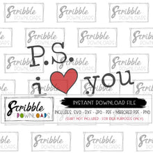 PS I love you SVG DXF PDF PNG farmhouse clipart typewriter SVG cut file silhouette cricut vinyl craft clipart vector cute kids boy girl vector for invitations free commercial use digital download instant easy printable