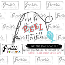 Reel Catch SVG fish fishing fisherman SVG Digital download vinyl cut file printable iron on shirt DIY craft easy fast secure safe free commercial use. fishing pole kids boy girl baby funny humorous gift