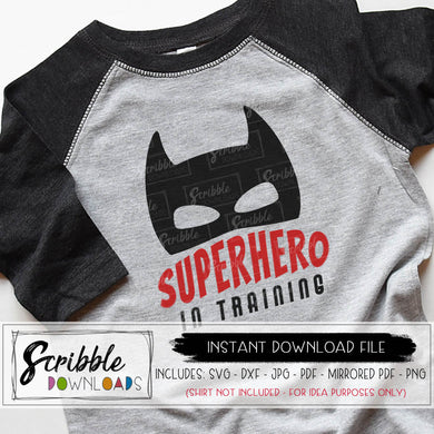 superhero in training digital download SVG DXF PDF PNG JPG Vinyl cut file silhouette cricut heroes comic batman mask cancer hero little boy brother kids cute popular best seller comic fun printable iron on transfer shirt DIY free commercial use cute popular best seller
