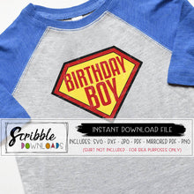 Birthday boy SVG superhero superman vinyl cut file clipart Silhouette cricut printable iron on transfer graphic bday boy birthday shirt cute fun comic heroes theme party shirt DIY free commercial use
