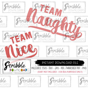 naughty or nice vector graphics instant digital download files printable as PDF and mirrored PDF for iron on transfer SVG and DXF compatible with silhouette and cricut cutting machines