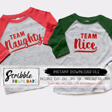 Christmas team naughty or nice svg dxf printable digital download file silhouette cricut cut files matching shirts for iron on transfers PDF easy to use instant