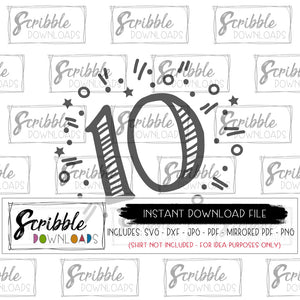 10 year old SVG vinyl cut file Silhouette Cricut SVG DXF PDF PNG JPG sublimation artwork clipart vector HTV heat transfer vinyl cut file 10th ten tenth birthday bday DIY craft shirt gift easy fast secure safe free commercial use boy kids girl teen preteen trendy popular best seller double digits 10 years old
