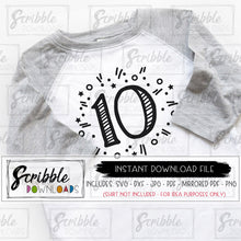 10 10th ten tenth birthday SVG Silhouette Cricut Printable iron on transfer shirt DIY craft party shirt 10 year old SVG DXF PDF PNG JPG HTV Popular cute trendy boy girl kids preteen double digits fun confetti party celebrate free commercial use vector clipart easy fast safe secure instant digital download hand drawn trendy 10 10 year old boy girl