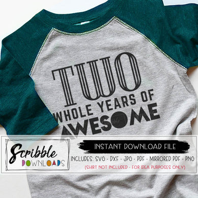Birthday two 2 svg bday printable iron on shirt TWO years of awesome pdf svg bday boy girl svg digital kids vinyl cut file cricut silhouette dxf retro 2nd popular svg 2nd birthday party iron on shirt scribble downloads