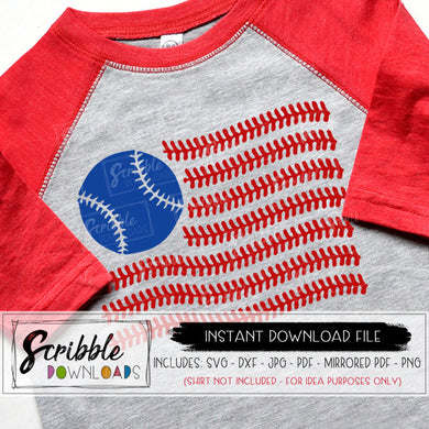 Baseball American Flag SVG red blue softball SVG DXF PDF PNG JPG Cricut SIlhouette Vinyl Cut File Digital download printable iron on transfer shirt t DIY craft baseball flag american stitches cute popular fast easy secure free commercial use