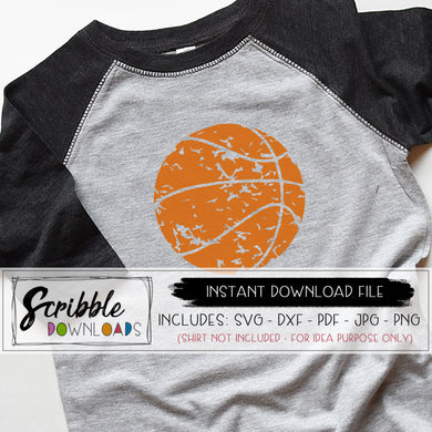 basketball distressed vinyl cut file SVG DXF PDF PNG JPG Printable iron on transfer clipart shirt Cricut Silhouette HTV cut grunge team sports antique old cool trendy popular cute boy girl kids teen mom cheer