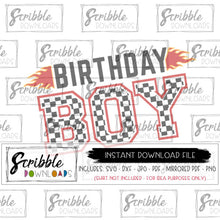 digital download birthday boy car theme racing flags instant printable vector graphic iron on print yourself SVG DXF PDF PNG JPG popular cute bday party shirt graphic iron on transfer checkered flag racing flames bday boy cars car theme SVG clipart