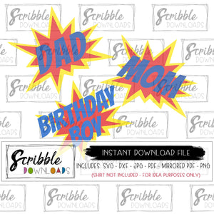 Birthday Boy Comic Superhero SVG Bundle mom dad Vector Vinyl Cut File Cricut Silhouette layered SVG DXF PDF PNG JPG clipart bday boy comic hero pow trendy popular kids boy diy iron on shirt printable digital download mama dada mommy daddy bday boy vinyl cut file