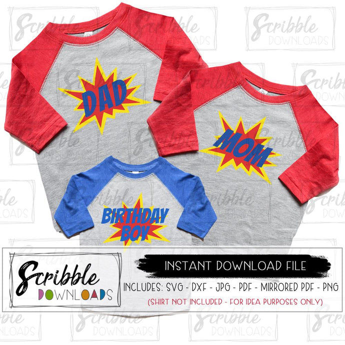 Birthday boy bundle superhero SVG DXF PDF PNG JPG Mirrored PDF Vinyl cut file cute popular super hero heroes party theme bundle mom dad matching family digital download DIY iron on shirt craft silhouette cricut 1 2 3 4 5 6 7 8 9 boy boys kids party superman ironman spiderman