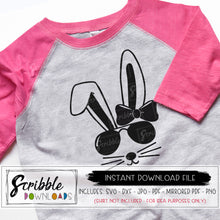 girl bunny svg retro cool svg dxf pdf png jpg vinyl cut file cricut silhouette digital download instant printable PDF iron on transfer clipart last minute easter rabbit shirt girl kids toddler bow cutesy girly popular free commercial use pinterest bunnies pink easter