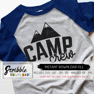 Camp Crew SVG DXF PDF PNG JPG Digital Download Instant Printable iron on transfer shirt graphic clipart Cricut Silhouette Vinyl Cut File Free commercial use mountain hand drawn cute matching camper camping SVG summer camp girls kids counselor logo explore adventure