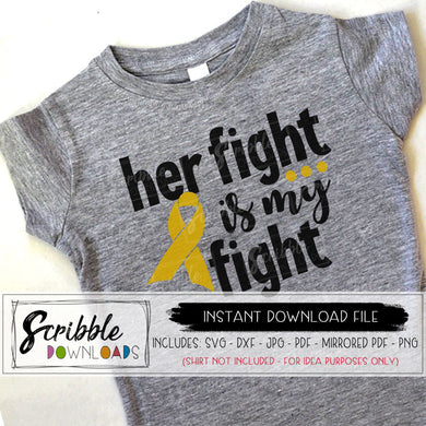 her fight is my fight svg dxf vector clipart graphic childhood cancer awareness ribbon leukemia brain cancer kids breast cancer cricut silhouette cut file for vinyl support fundraiser