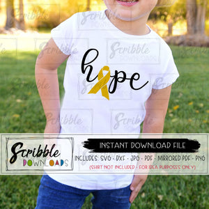 childhood cancer HOPE graphic svg DXF pdf iron on transfer printable instant digital download make your own shirt cancer awareness September cute popular cheap clipart graphic warrior cancer support