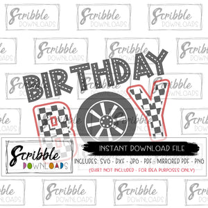 birthday boy car theme SVG vinyl cut file DIY shirt printable iron on transfer shirt digital download SVG DXF PDF PNG JPG Mirrored PDF printable iron on cricut silhouette car cars race car racecar checkered flag cute easy fast safe secure popular free commercial use bday birthday boy boys kids cars theme party shirt