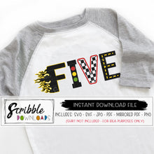 5 cars svg five 5th fifth 5 birthday vinyl cut file Silhouette Cricut digital download cars theme racing flag checkers roadway flames stoplight cute popular vector instant email free commercial use boy girl bday party shirt iron on printable download file