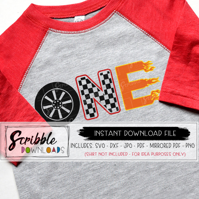 1 SVG one 1st first SVG Vinyl Cut File Cricut Silhouette SVG DXF PDF PNG JPG Digital Download instant printable iron on transfer shirt DIY craft easy fast car cars vehicle racing flames boy boys cute kids toddler svg fun popular birthday cars theme bday car shirt last minute gift 1 year old