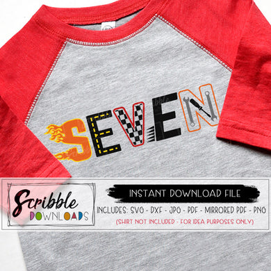 7 car svg seven 7th seventh birthday bday vinyl cut file Silhouette Cricut design space free commercial use racecar racing checkered flag boy kids youth 7 year old gift flames motorcycle cool cute boys trendy 7 seven SVG DXF PDF PNG JPG mirrored PDF digital download printable iron on transfer shirt craft DIY birthday party shirt