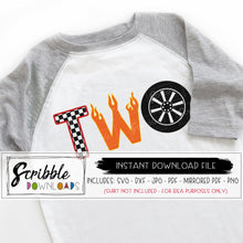 two 2 car theme SVG DXF PDF PNG JPG Cricut Silhouette Vinyl Cut File Cars theme party shirt Digital Download iron on transfer printable last minute. Flames tires checkered flag. Little boy boys cute popular two 2 2nd second bday party Free commercial use limited.