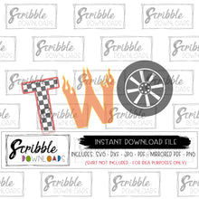 two 2 2nd second SVG DXF PDF PNG JPG Car cars theme party shirt digital download iron on transfer printable clipart Cricut Silhouette tire racing flames racing flags Vinyl Cut File