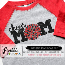 cheer mom pom pom svg dxf pdf cut file silhouette cricut iron on transfer print at home DIY cute cheer mama shirt graphic cameo design space vinyl cut file popular cheap digital download free commercial use pom pom