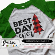 Christmas best day ever svg dxf cut file buffalo plaid tree xmas cute popular cut file for silhouette cricut easy to use free commercial use with purchase digital download file instant