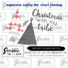 Matching Family Christmas with my tribe SVG digital download vinyl cut file xmas pajamas DIY printable iron on shirt craft mom dad brother sister kids teen matching shirts easy fast safe secure free commercial use xmas christmas tribe teepee tepee matching cute popular best seller vinyl cut file HTV cricut silhouette