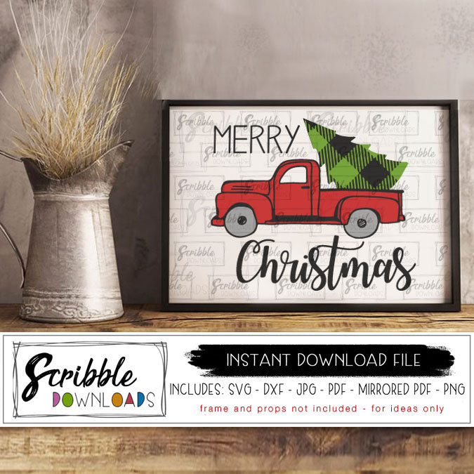 merry christmas old fashioned farmhouse truck printable digital download svg dxf cut file print at home vinyl cut file