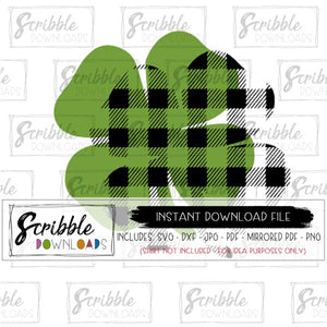 st patricks day svg cut file shamrock clover green plaid pinch me irish march leprechaun luck lucky holiday party svg dxf pdf png jpg cricut silhouette cut file digital download free commercial use peel layers easy clover