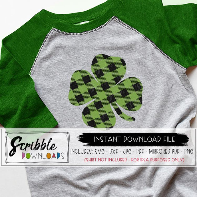 clover shamrock svg dxf pdf png jpg cut file buffalo plaid green st patrick's day vinyl file cricut silhouette layered digital download instant printable iron on transfer DIY shirt last minute march irish cute popular