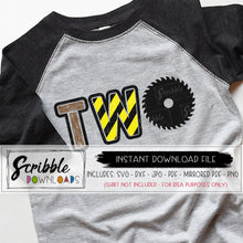 two construction theme clipart svg vinyl cut file cricut silhouette two 2nd 2 second boy girl kids toddler saw excavator bulldozer dozer doser construction theme birthday shirt DIY iron on shirt stripes yellow and black. SVG DXF PDF PNG JPG mirrored PDF popular best seller svg cut file. bday birthday two 2 2nd second construction theme svg