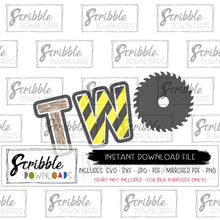 2 second birthday bday construction theme clipart vinyl cut file SVG DXF PDF PNG JPG Mirrored PDF craft diy iron on shirt transfer fast safe secure free commercial use sublimation. construction saw stripes hazard stop sign road signs yellow wood saw. cricut silhouette popular best seller 2 2nd second two bday birthday boy girl kids toddler youth