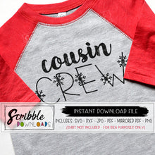 cousin crew svg dxf cricut silhouette cut file easy to use snowflakes hand drawn graphic vector matching iron on transfer shirts digital download sublimation artwork craft