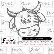 cow SVG DXF PDF PNG JPG Cricut Silhouette cut file for craft projects barnyard birthday shirt iron on DIY printable print at home last minute cowboy farmlife farm boy barnyard heifer cute FFA toddler cute popular digital download free limited commercial use easy vinyl HTV supplies