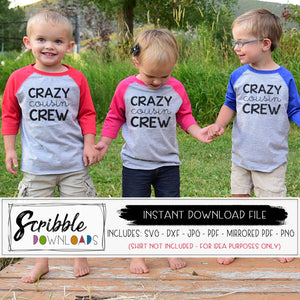 Cousin matching shirts iron on printable SVG DXF PDF PNG JPG vector graphic silhouette cricut cut file easy to use download instantly digital printable heat transfer vinyl file sublimation clipart free commercial use
