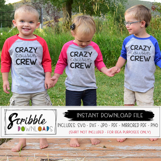 Cousin matching shirts iron on printable SVG DXF PDF PNG JPG vector graphic silhouette cricut cut file easy to use download instantly digital printable heat transfer vinyl file sublimation clipart free commercial use popular reunion kids cousin svg