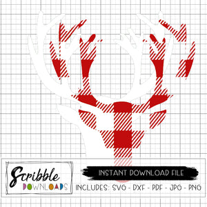 Christmas Deer antlers SVG DXF PDF graphic instant download layered SVG peel apart red white deer matching pajama shirts easy popular cute