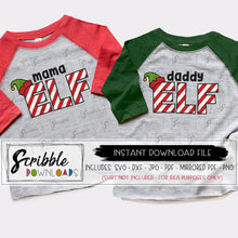 Elf mama daddy svg dxf vinyl cut files silhouette cricut matching iron on shirts vector graphic easy popular cute candy cane stripes layered