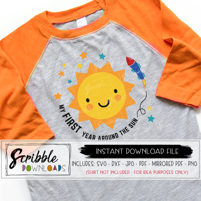 first trip around the sun svg 1 one year old around the sun digital download first birthday 1st first one bday vinyl cut file SVG DXF PDF PNG JPG Mirrored PDF printable iron on transfer shirt for party. silhouette cricut vinyl cut file HTV popular best seller etsy around the sun SVG