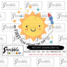 around the sun SVG one year old 1st 1 first one sunshine space rocket stars sun scribble downloads vinyl cut file silhouette cricut etsy best seller popular one year old SVG printable iron on transfer