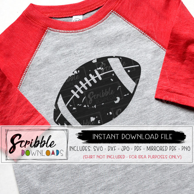 Distressed Football SVG for cut file machines like cricut and silhouette.  DXF file also included and PDF PNG JPG.  grunge distressed look.  sports mom mama football team graphic logo iron on transfer shirt