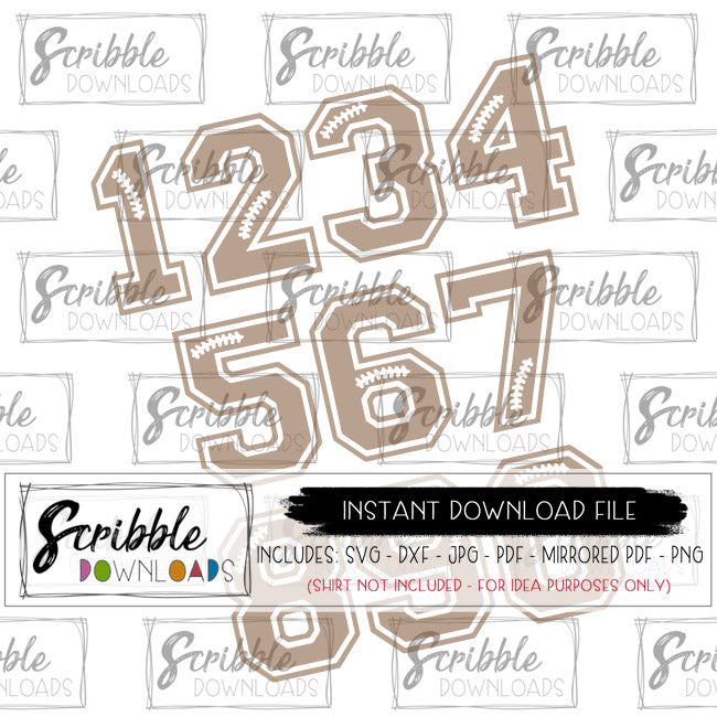 FOOTBALL NUMBERS SVG FONT SVG DXF BIRTHDAY SPORTS NUMBERS JERSEY CHEER FAN Cricut Silhouette cut file football sports clipart numbers jersey numbers cute kids boy girl sublimation