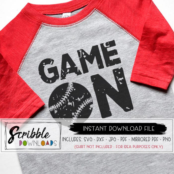 baseball softball game on distressed vintage vector graphic svg dxf pdf png jpg cut file for silhouette or cricut software easy printable iron on transfer shirt DIY digital download game on cute popular safe secure easy fast last minute teen boy girl kids logo team softball baseball coach team mom mama cheer distressed grunge antique